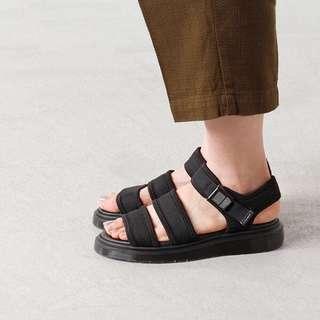 正品Dr.Martens Effra Tech 2 黑紅藍迷彩多色 皮帶馬丁涼鞋拖鞋懶人鞋(具有隱形增高效果)