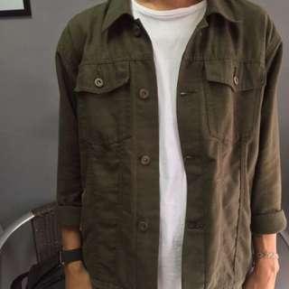 Canvas jacket warna olive green
