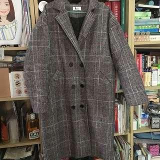 格紋內鋪棉大衣