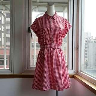 品牌綿格襯衫洋裝裙