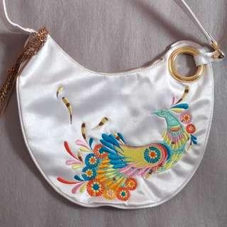 Trans version 刺繡 鳳凰白色袋 clutch vintage handbag embroidery phoenix