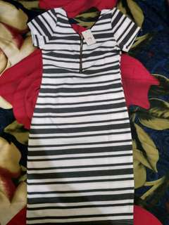 Turun Harga!!!! Dress Mini Salur Bahan Tebal
