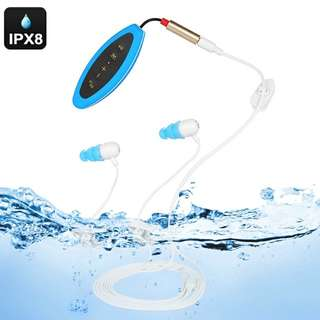 Waterproof MP3 Player - IPX8 Rating, 8GB Memeory, About 2000 Tracks, 8 Hrs Battery Life, FM Radio (Blue) (CVAIA-A863)