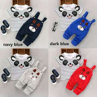 Newborn kids, boy and girl. T shrit top and pants overall outfits