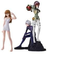 Bandai EVA NEON GENESIS Evangelion Asuka + Nagisa + Makinami HIDDEN Metalic Plug Suit  1 set 3 Figures