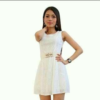 In stock Spotlight white flower laced Dress
