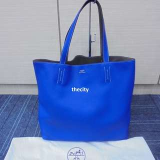 "AUTHENTIC Hermes Double Sens 36cm Reversible Tote Bag Bleu De Malte/Iris Taurillon Clemence ""R"""