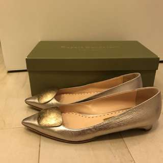 Rupert Sanderson silver/champagne/nude/natural flats size 37