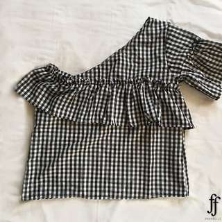 GINGHAM ONE SHOULDER TOP