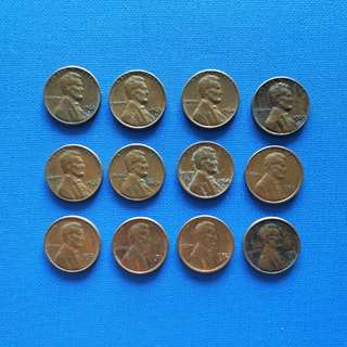 America Lincoln Old 1 cent coin 1962-73 (12) pcs