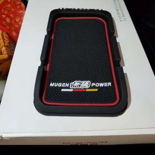 Dash board anti slip mat handphone mobile phone stand mugen logo temporary parking contact no. Display