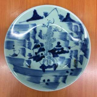 Antiques Blue & White Porcelain Plate 24cm Diameter