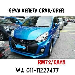 Sewa kereta Grab/Uber - RM72