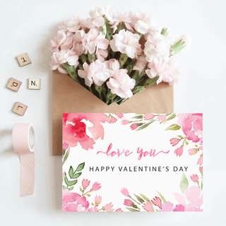 Watercolor Floral Valentine's Card 4