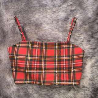 Red checked print tight crop top