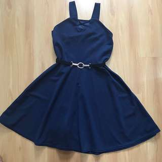 Navy Blue Casual Dress with Belt