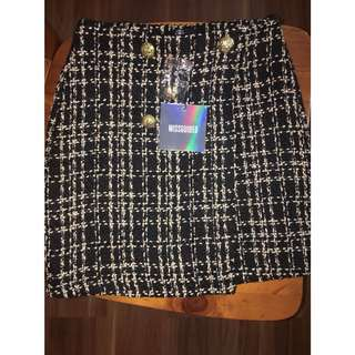 Misguided Boucle Black Military Skirt