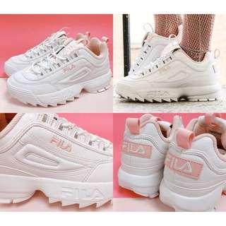FILA厚底Disruptor 2FS1HTZ3071X全白粉白粉色焦糖白底韓國限定增高鞋 鋸齒鞋Legend_B