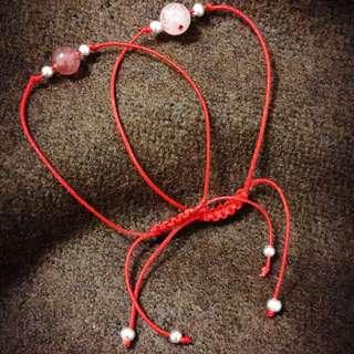 ✨桃花好運紅繩✨純天然10mm草莓晶紅繩手鍊