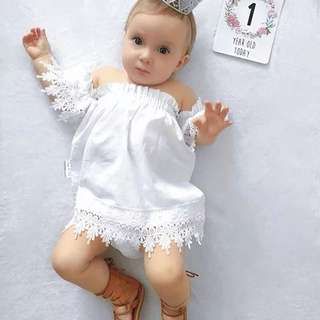 🌟INSTOCK🌟 White Lace Off Shoulder Style Dress for Baby Toddler Girl Children Kids Everyday Wear