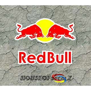 "Custom ""RedBull"" Diecut Vinyl Decal No Background Choose Name or logo or both"