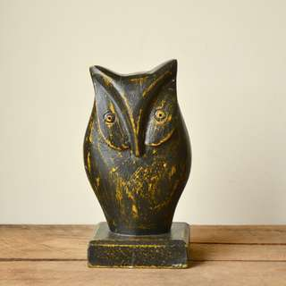 Wooden Hand Carved Distressed Black & Yellow Owl Statue