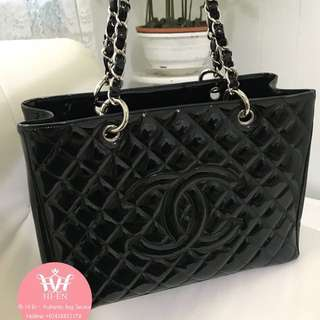 CHANEL GST BLACK PATENT SHW