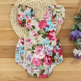 🌟INSTOCK🌟 Garden Rose Floral Beige Khaki Romper Onesie for Newborn Baby Toddler Girl Children Kids Everyday Wear