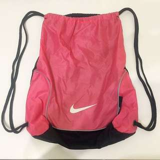 Nike Pink and Black Drawstring Backpack