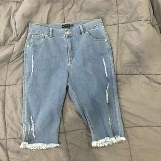 High waisted long denim shorts