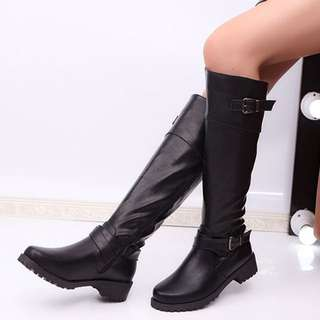 flat knee high stretch mid calf winter riding boots