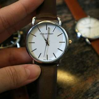 White Calvin Klein Dark Brown Strap