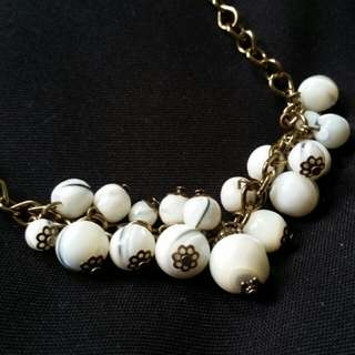 Gold and Cream Cluster Necklace
