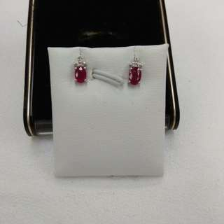 Ruby earrings with diamonds 18k white gold mounting