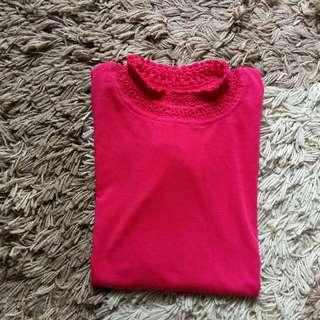 Manset Panjang Kaos Katun Warna Pink untuk Dalaman Gamis Hijab Jilbab Preloved Second