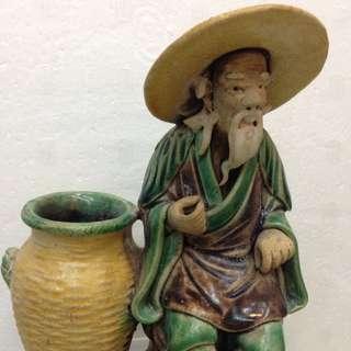 旧石湾三彩漁民夫16cm