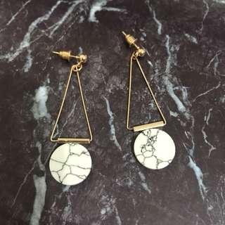 韓國連線大理石氣質垂墜式耳環