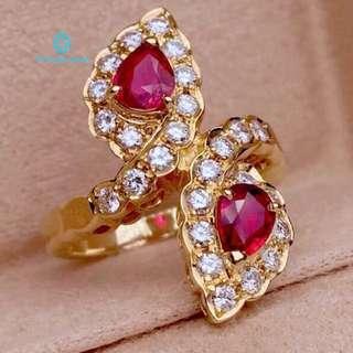 18K 黃金 天然紅寶石 鑽石戒指