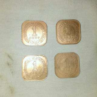 Old One Cent 1941--(4 pcs)