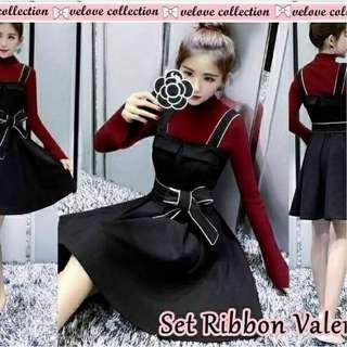Sett Midi Dress With Inner Merah X Hitam