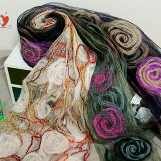 印度絲綢圍巾(共三色紫、米、綠)