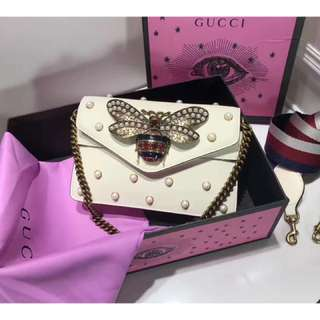 Gucci 包包(2017早春限量款Broadway小蜜蜂珍珠單肩包)Broadway leather clutch