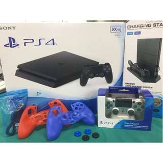 BRAND NEW Sony PS4 PlayStation 4 Slim BLACK Console Bundle FREE EXTRA PS 4 CONTROLLER / PlayStation 4 Cooling Fan Stand / 4 Joystick Cover / 2 Silicone Sleeves / USB Cable 500GB