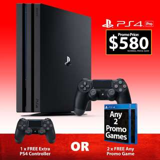 BRAND NEW PS4 PlayStation 4 PRO 1TB Console Bundle FREE EXTRA PS 4 CONTROLLER OR 2 GAMES Sony Authentic Trade In