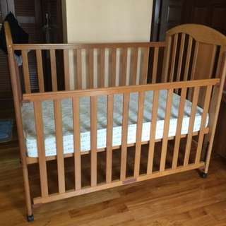 Rosewood baby cot with mattress (Good condition)