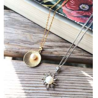 Skin&Moss Vintage復古日本天然淡水白色珍珠海洋系列項鍊鎖骨鏈輕珠寶美品