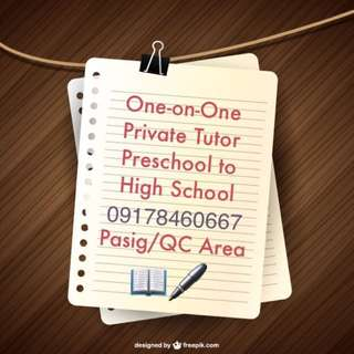One-on-One Private Tutor Preschool to High School from UP Diliman