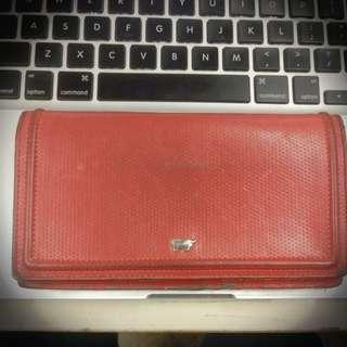 Braun Buffel wallet Golf Red Leather Clutch Genuine