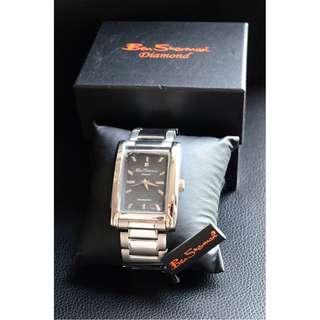 Ben Sherman Men's Silver Diamond Rectangular Dial Watch