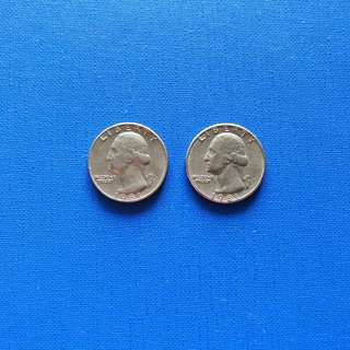 Old American quarter dollar coin 1981-D 1981-P (2pcs)